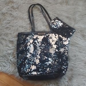 Betsey Johnson Sequined Tote W/ Matching Clutch